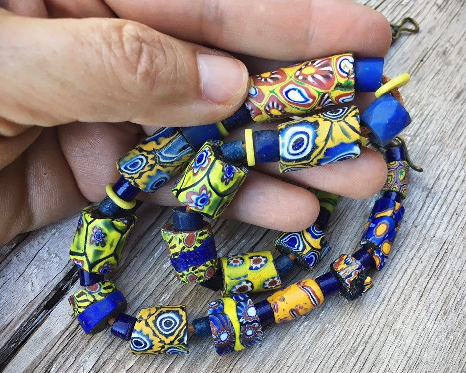 18 Antique Venetian Millefiori African Trade Beads Vintage Choker Necklace For Woman