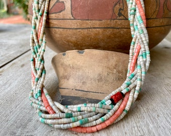 """Braided Eight Strand Shell Heishi Turquoise Pink Coral Necklace 20"""", Santo Domingo Native American"""