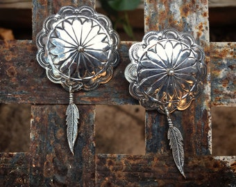 Vintage Navajo Sterling Silver Concho Post Earrings with Feathers, Native American Indian Jewelry, Valentine Day Gift for Girlfriend