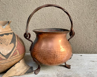Hammered Copper Pot Wrought Iron Legs and Handle, Rustic Planter, Patio Garden Fireplace Decor