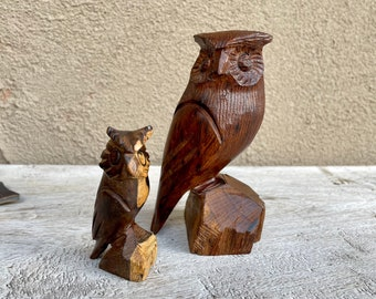 Two Ironwood Owl Statue Wood Carvings, Northern Mexico Seri Tribe Indigenous Art, Wise Person Gift