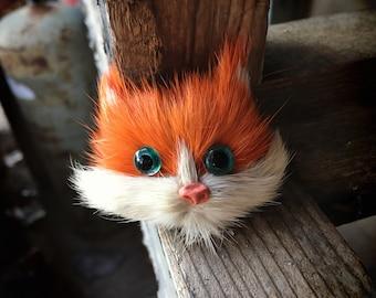 Vintage Furry Cat Face Brooch Pin Glass Eyes, Orange Tabby Jewelry for Women, 1960s Teen Fashion