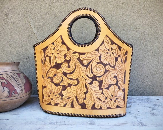 Mexican Purse Tooled Leather Tote with Arm Hole Alejandro Yeo   Etsy a584f918e5
