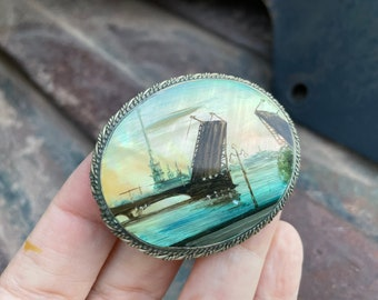 Antique Brooch St. Petersburg Palace Bridge Painted on Abalone Mother of Pearl, Miniature Artwwork