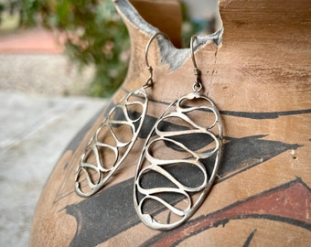 Big yet Delicate Sterling Silver Sculptural Earrings for Women, Vintage Estate Jewelry Bohemian