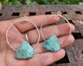 Turquoise Sterling Silver Hoop Earrings by Navajo Delbert Delgarito, Native American Jewelry