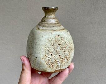 Small Art Studio Pottery Weed Pot Earthtone, Vintage Hand Thrown Bud Vase Dry Flower Holder
