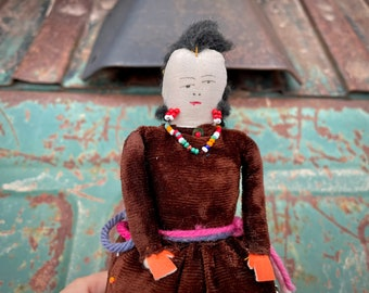 Vintage Navajo Pin Cushion Doll with Brown Velvet Blouse Skirt, Native American Handmade Folk Art
