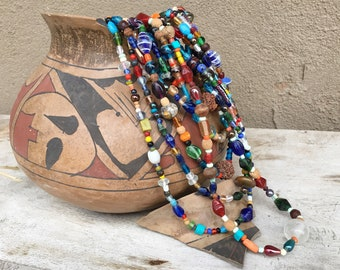 Vintage 8-Strand Nagaland Multi Color Trade Bead Necklace, Ethnic Layering Tribal Bohemian Jewelry