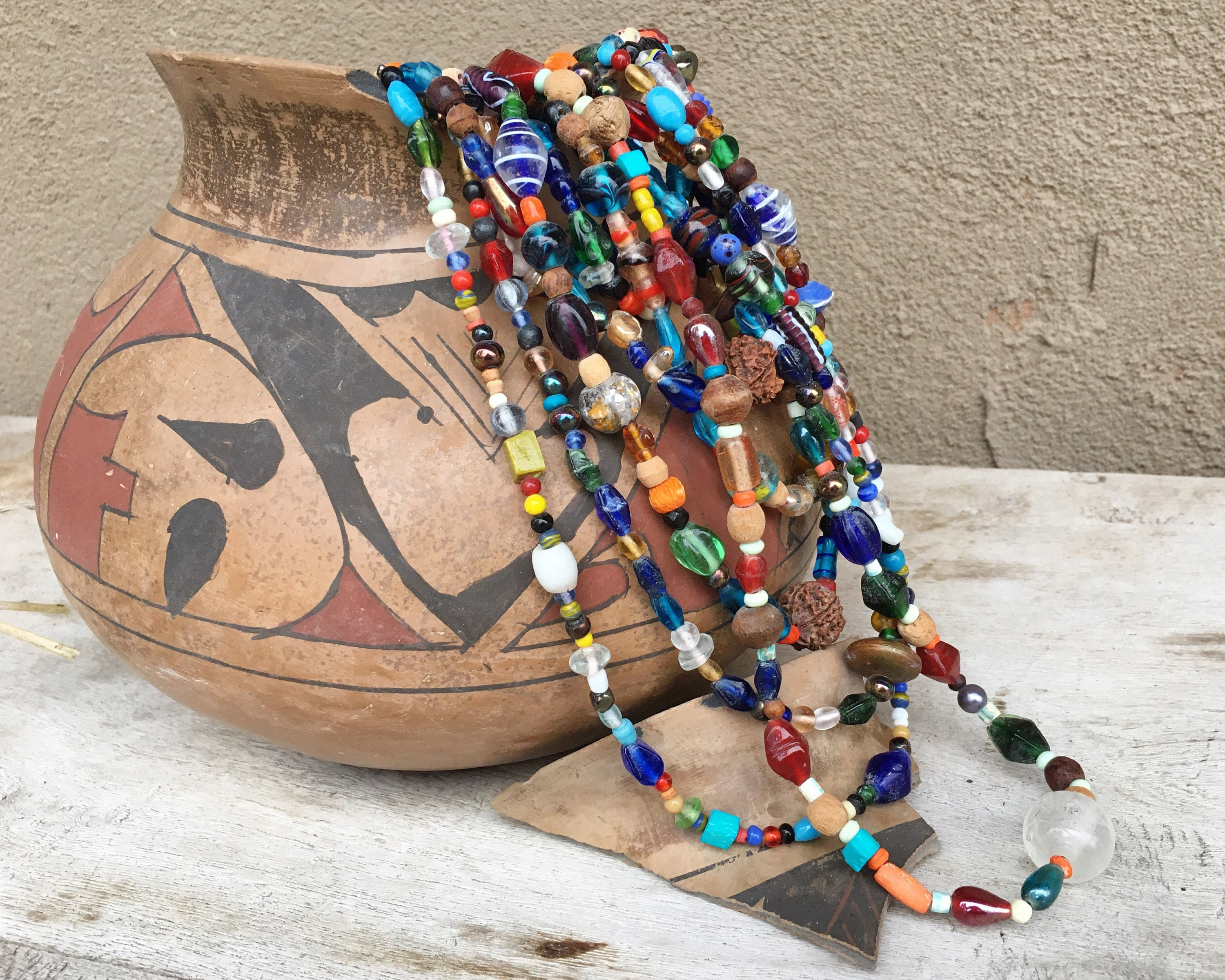 Vintage 8 Strand Nagaland Multi Color Trade Bead Necklace Ethnic Layering Tribal Bohemian Jewelry