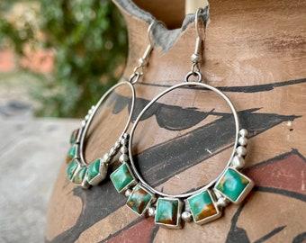 Medium Sized Hoops Turquoise Earrings by Navajo Annie Hoskie, Native American Indian Jewelry