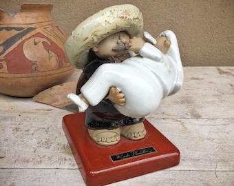 Ceramic Stoneware Groom Carrying Bride Sculpture by Rodo Padilla, Mexican Folk Art Wedding Gift