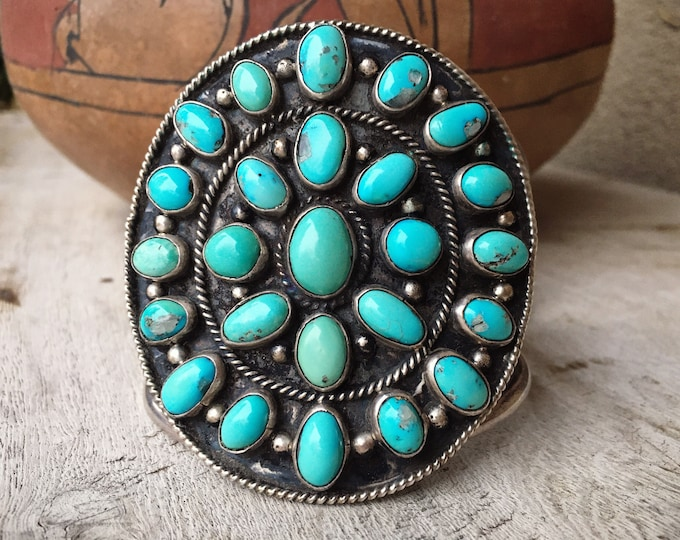 Featured listing image: 113g HUGE Turquoise Cluster Cuff Bracelet Unisex, Vintage Navajo Native American Indian Jewelry