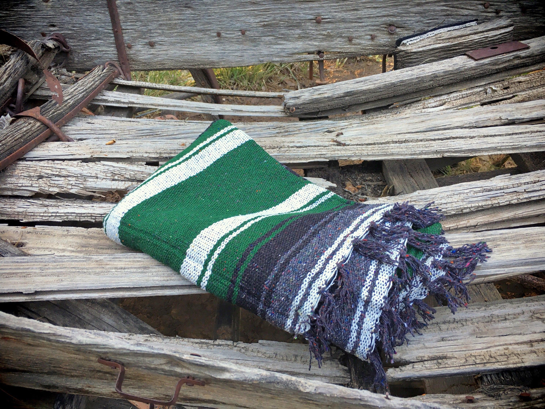 Vintage Woven Mexican Blanket Bohemian Decor Yoga Car Seat Cover Serape Throw Falsa