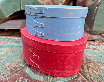 Set of Painted Oval Shaker Boxes Made of Bentwood Finished w/ Metal Rivets, Red and Blue Decor