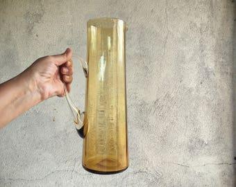 Vintage Mexican Blown Glass Pitcher Amber Glassware Modern Farmhouse Decor