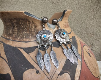 Vintage Southwestern Turquoise and Sterling Silver Concho with Feathers Earrings Native American