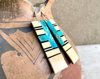 Turquoise Slab Earring with Black Onyx Multi Stone Dangles by Santo Domingo Torevia Crespin