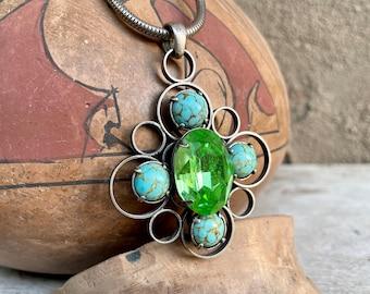Vintage Natalie B Silver Tone Rhinestone Faux Turquoise Pendant Necklace, Statement Jewelry