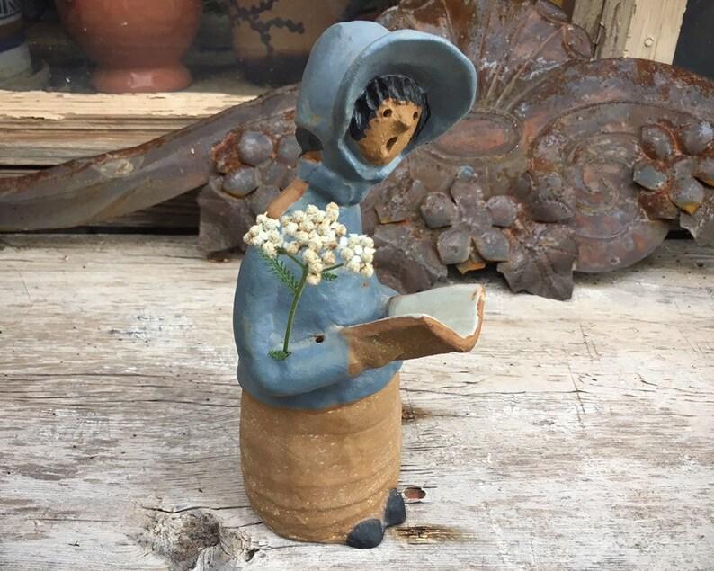 Helen Slater Poppytrail California Stoneware Flower Holder Weed Vase Mid Century Pottery Metlox Poppet Girl with Book Lisa Larson Style
