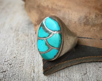 Heavy 1950s Channel Inlay Turquoise Ring for Men or Women Size 11, Native American Indian Jewelry