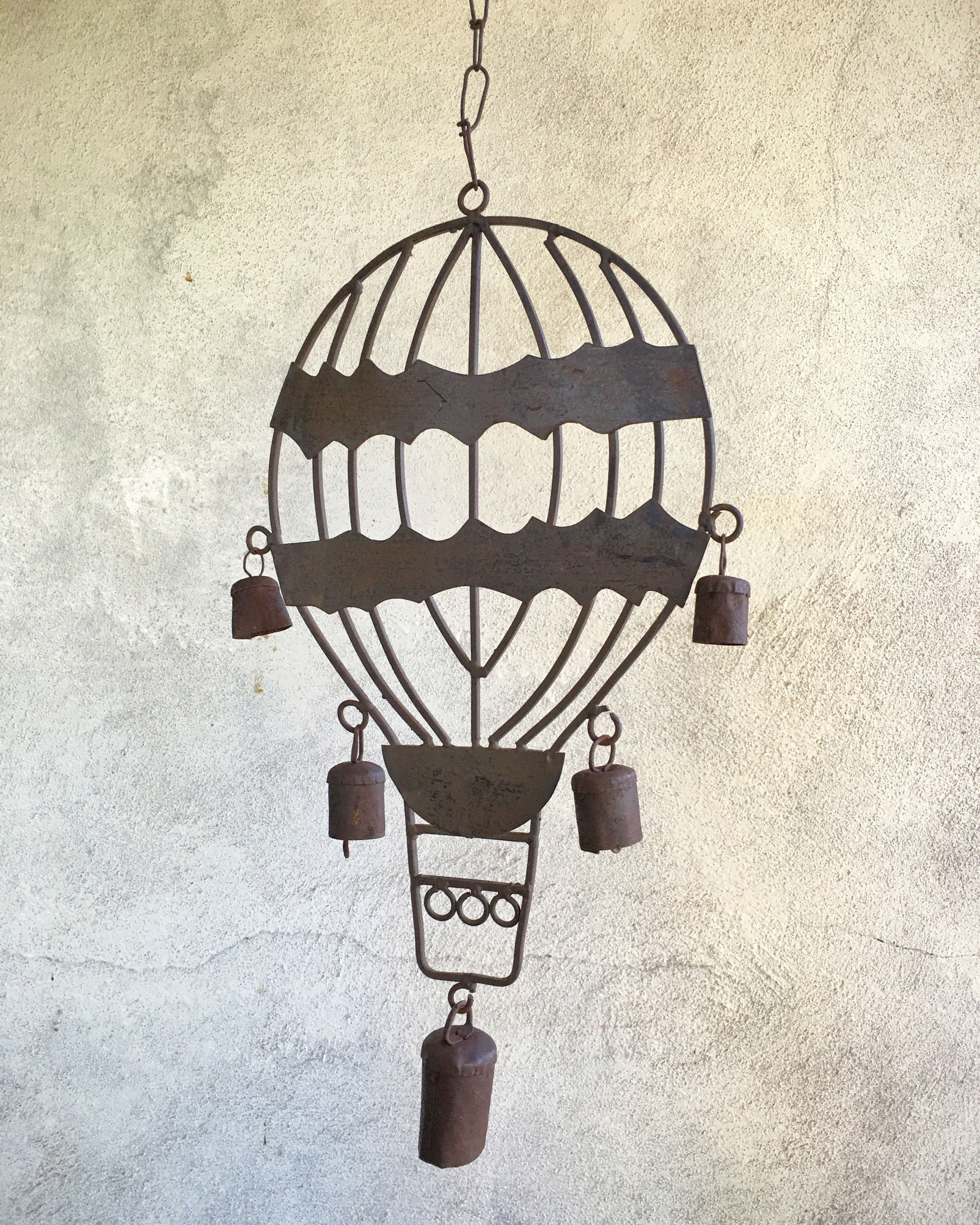 Vintage Rustic Metal Hot Air Balloon Wind Chime Old Rusty Weathered