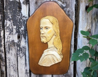 Hand Painted Resin Jesus Christ Plaque on Wood Wall Hanging, Made in Italy Catholic Religious Art