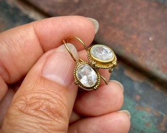 Vintage Gold Vermeil 925 Sterling Silver Small Dangle Earrings with Faux Diamonds, Boho Jewelry