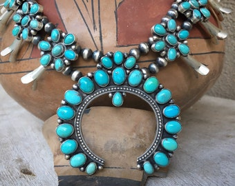 165g Cluster Turquoise Squash Blossom by Navajo Pansy Johnson, Authentic Native American Jewelry
