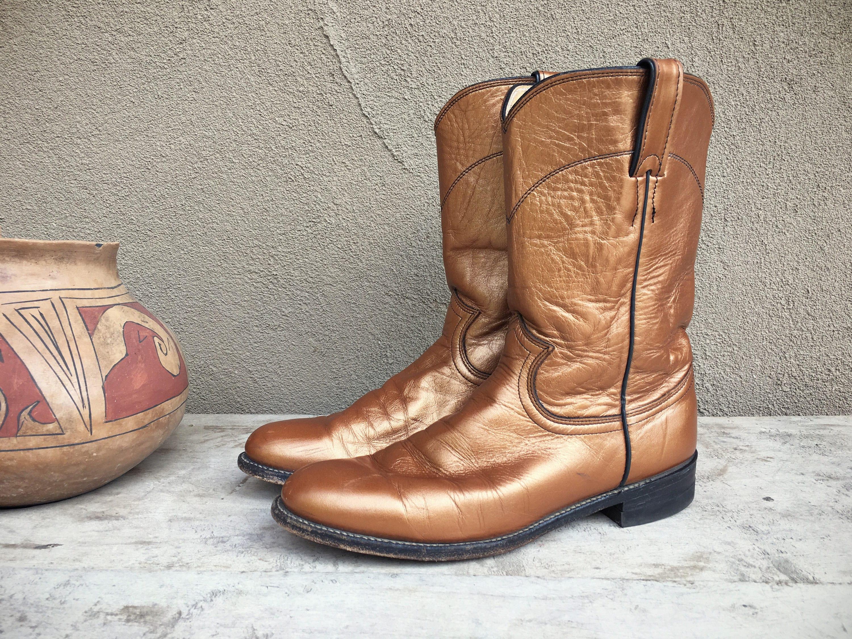 28edb1e50bc Vintage cowboy boots Women's size 8 B copper Justin Ropers round ...