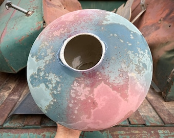 Large Signed Anthony Evans Raku Pottery Seed Pot Form Vase Pastel Color, Modernist Ceramics