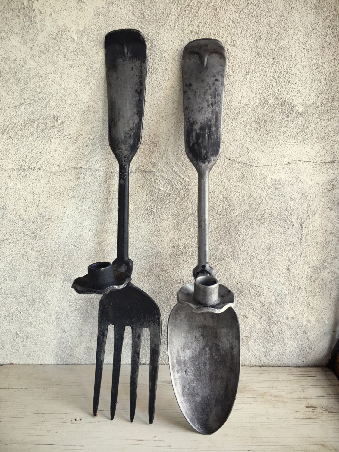 Vintage Oversized Metal Fork And Spoon Candle Holder Wall Hangings