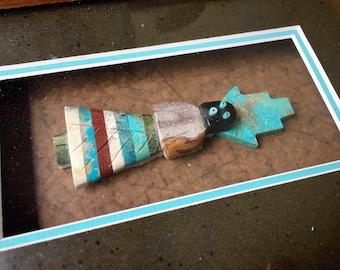 Vintage Framed Kachina Maiden Fetish of Turquoise Multi Gemstones, Native American Indian Art