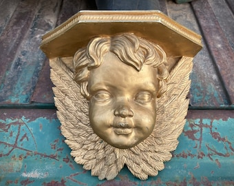 Heavy Vintage Gold-Painted Resin Angel Wall Shelf, French Country Cottage Decor, Cherub Sconce