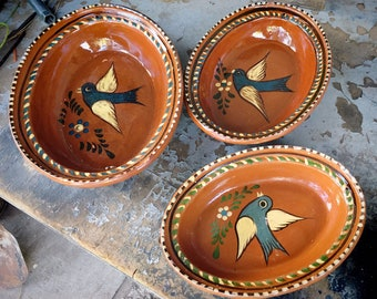 Old Mexican Redware Pottery Oval Dishes Wall Hangings, Tlaquepaque Bird Design Nesting Bowls