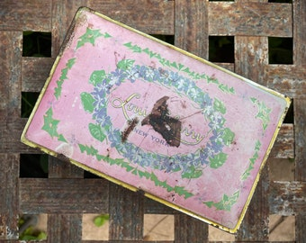 1920s Louis Sherry Super Distressed Pink Tin Metal Hinged Box, Victorian Farmhouse Cottage Decor