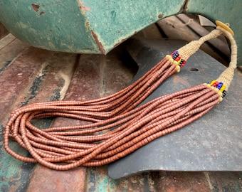 Vintage 16-Strand Brick-Red Bone Bead Necklace Nagaland with Button Closure, Multi Strand Ethnin