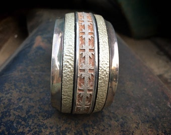 "90g Sterling Silver Cuff Bracelet ""Navajo Rug"" Design by Alfred Joe, Native America Indian Jewelry"
