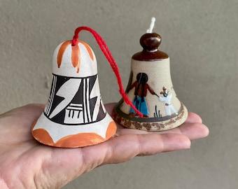 Small Pottery Bell Chime Figurines, Acoma Pueblo, Tonala Mexico, Vintage Native American Art