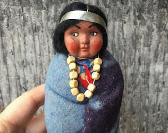 "6.5"" Tall Female Skookum Doll Looking Right, 1950s Composition Head Plastic Feet, Bully Good"