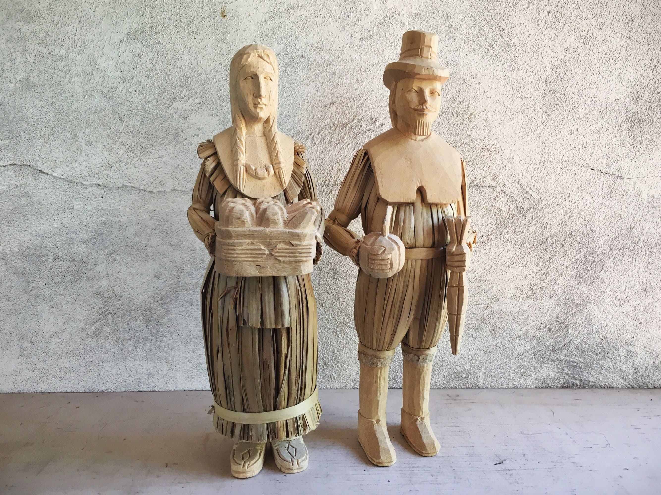 corn husk dolls wood carved pilgrim man native american