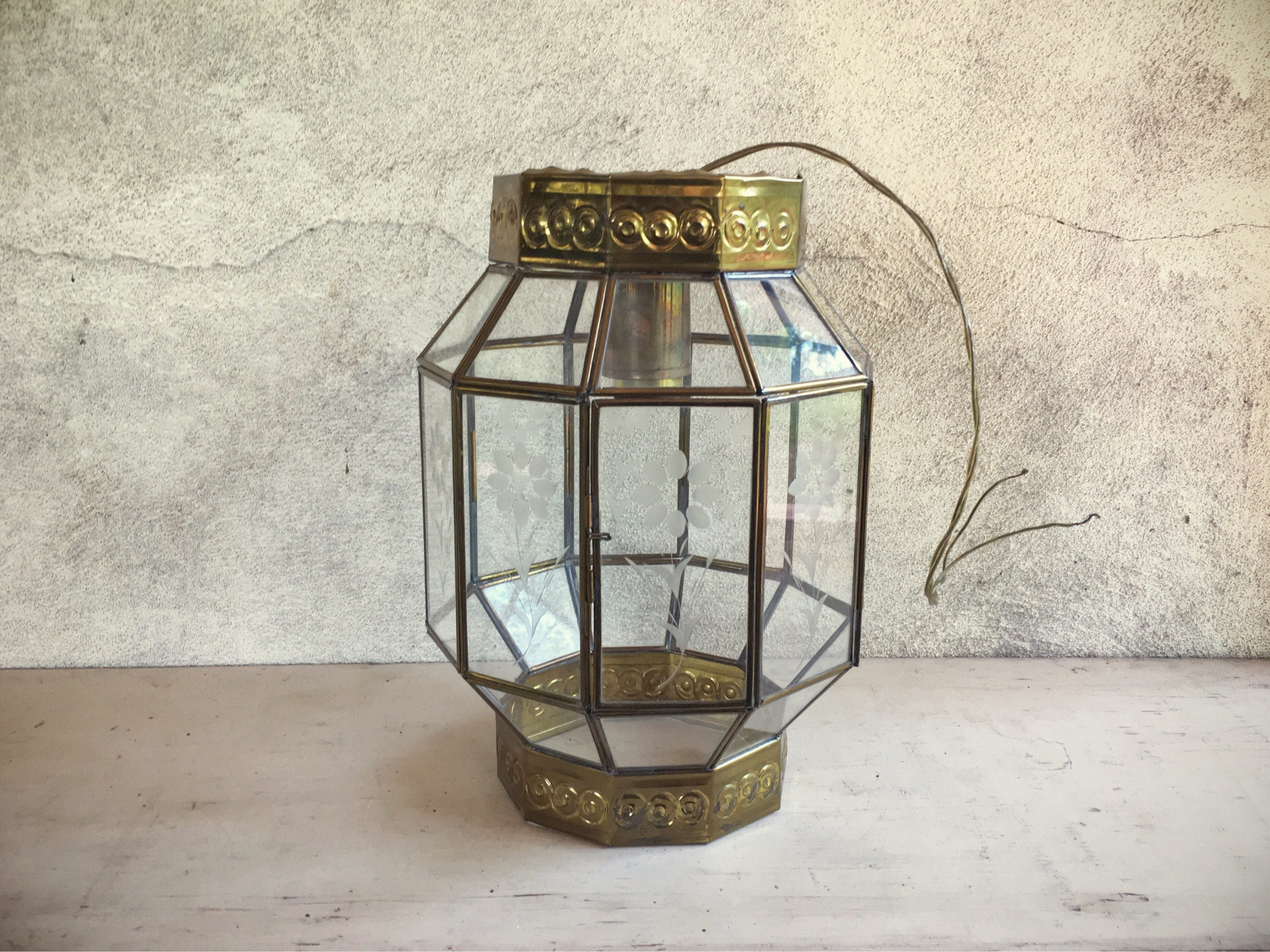 Vintage Mexican Etched Glass Brass Hanging Lamp Bohemian