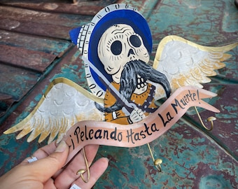 Mexican Painted Metal Pancho Villa Calabaza Wall Hanging, Fight til Death, Small Hooks