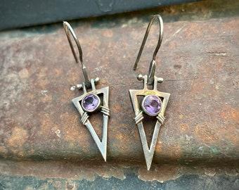 Triangle Shaped Sterling Silver Amethyst Earrings for Women, February Birthstone Jewelry Purple