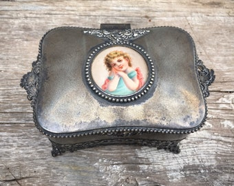Antique Derby Silver Quadruple Plated Lined Dresser Box Casket with Hand Painted Porcelain Cameo, Trinket Jewelry Box for Rings