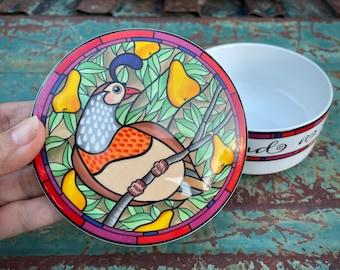 Mikasa Partridge Pear Tree Ceramic Lidded Trinket Box Designed by Dan Scannell, Christmas Decor