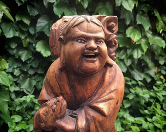 1920s Chinese Carved Wood Buddha Statue with Glass Eyes, Spiritual Art, Meditation Gift for Buddhist, Zen Decor, Hotei
