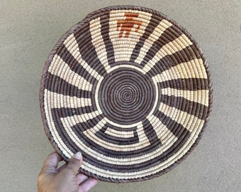 Shallow Woven Basket Man in Maze, Bohemian Decor, Southwestern Decor, Native Style, Gallery Wall
