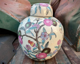 Vintage Chinese Enamel Hand Painted Porcelain Ginger Jar (Chipped) Pink, Lidded Vase Chinoiserie