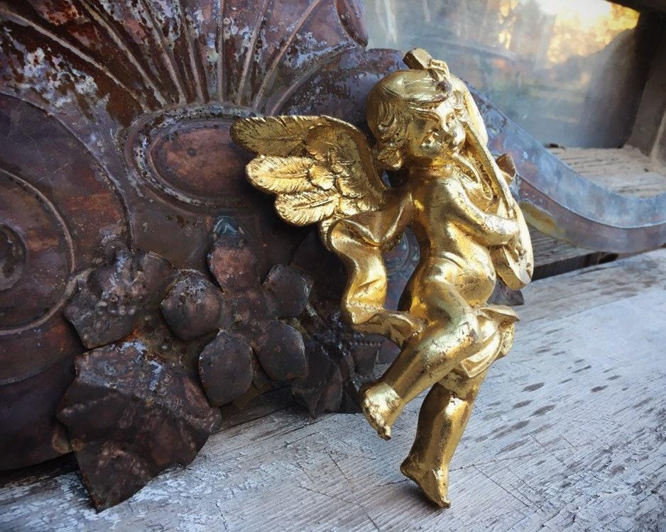 Golden Cherub Angel Ornament Made In Italy By Simonetti